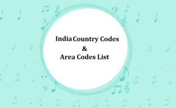 India Country Codes & Area Codes List