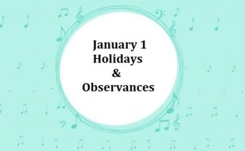 January 1 Holidays & Observances - Important National & International Days