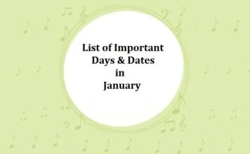 List of Important Days & Dates in January